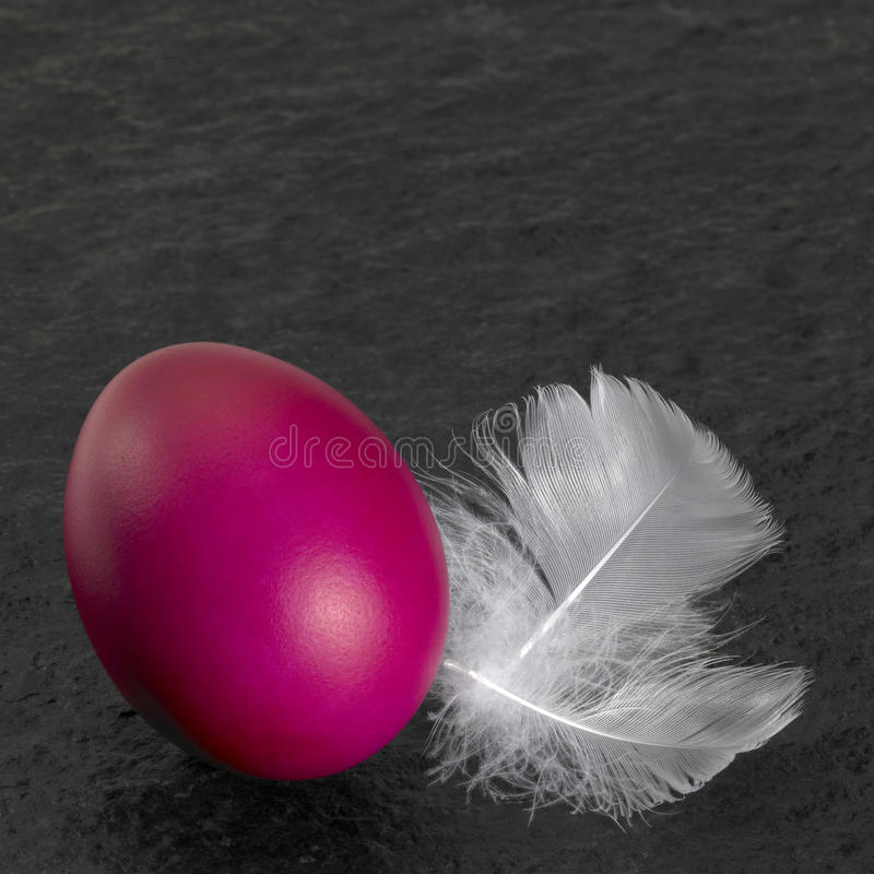 Easter egg and down feathers