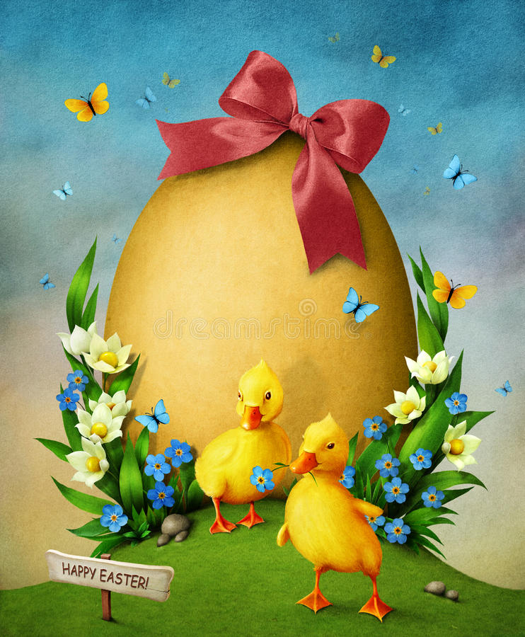 Easter egg and ducklings. royalty free illustration