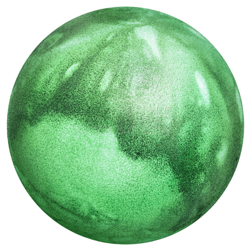 Easter Egg Dyed Kelly Green and Decorated with Leaves Imprints Top View Isolated On White Background stock images