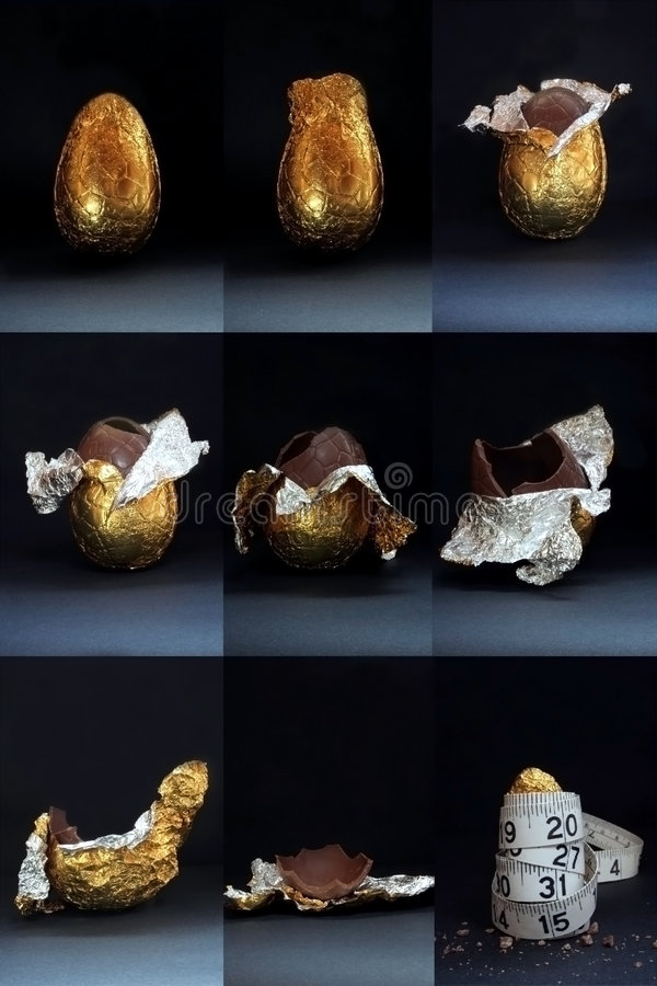 Easter Egg - Eaten With Guilt. Image of an easter egg in the process of being eaten, with the last image of the wrapper on a measuring tape royalty free stock photo