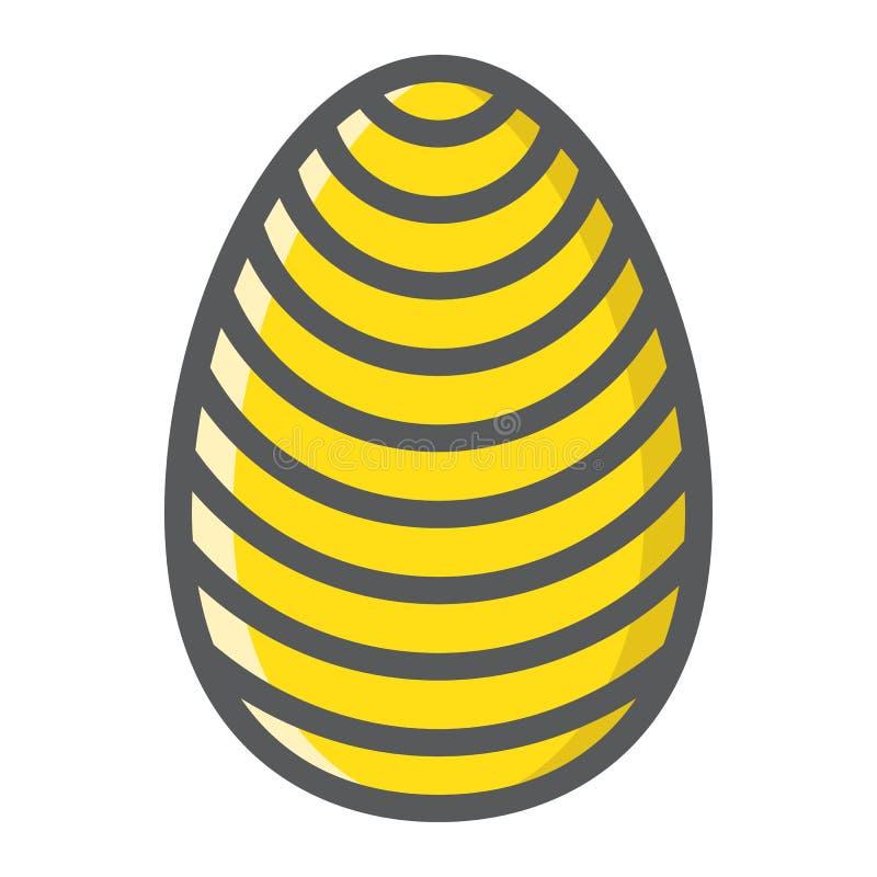 Easter egg filled outline icon, easter vector illustration