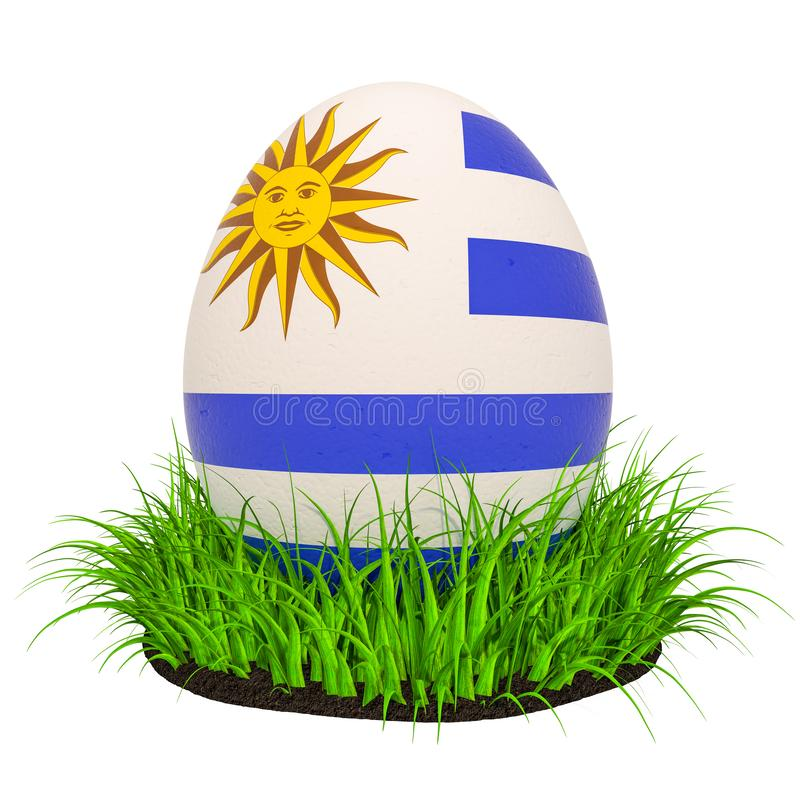 Easter egg with flag of Uruguay in the green grass, 3D rendering royalty free illustration