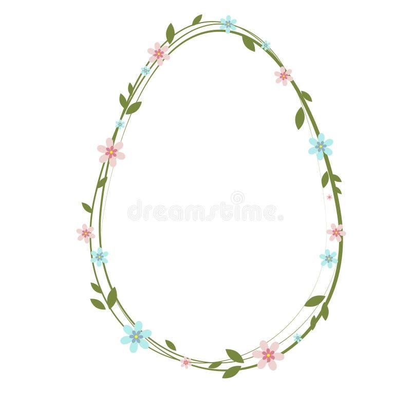 Easter egg with floral decoration. Flowers, leafs, egg. vector illustration