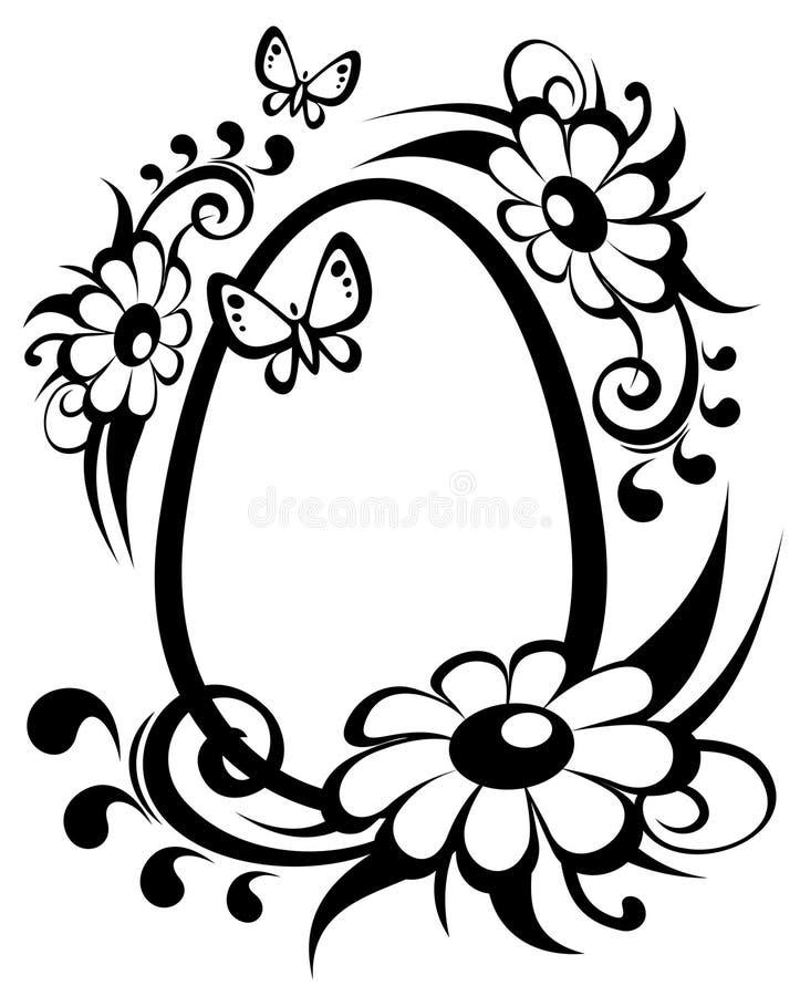 Easter egg and flowers stock illustration