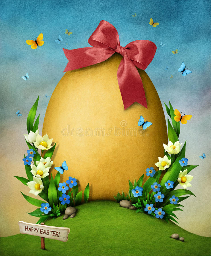 Easter Egg And Flowers Royalty Free Stock Image