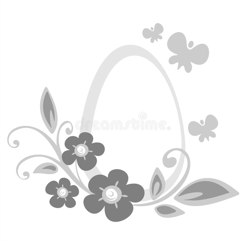 Easter egg and flowers royalty free stock images