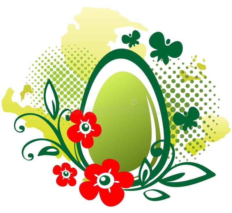Easter egg and flowers vector illustration