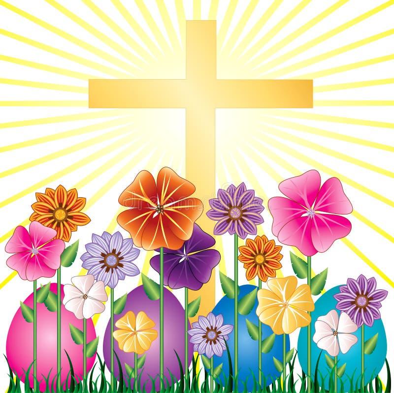 Easter Egg Garden. Vector illustration of a Cross and Easter Resurrection Egg Garden with grass stock illustration