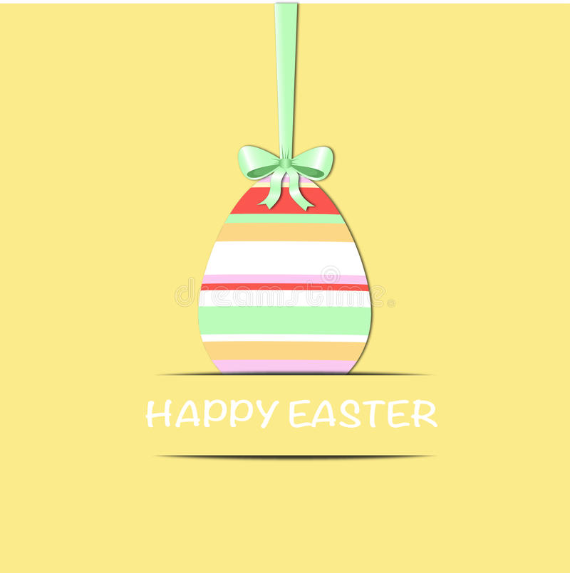 Easter egg with green ribbon stock photo