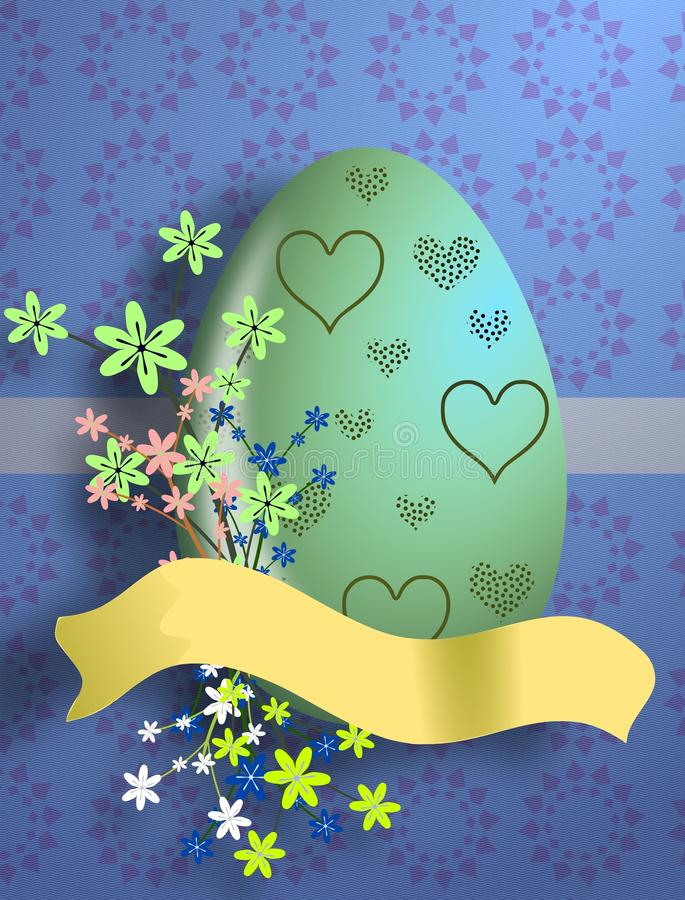 Download Easter Egg With Heart Decoration And Flowers Stock Illustration - Illustration of celebrate, blue: 18600953