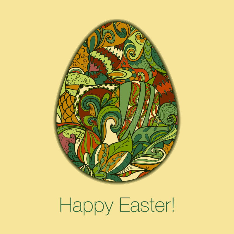 Easter egg greeting card hand drawn ornament. Easter egg greeting card with abstract hand drawn ornament. Use as greeting card royalty free illustration