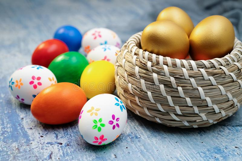 Easter egg, happy Easter sunday hunt holiday decorations stock images