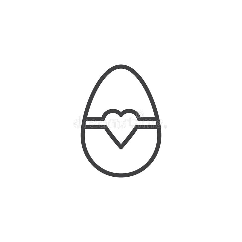 Easter egg with heart line icon vector illustration