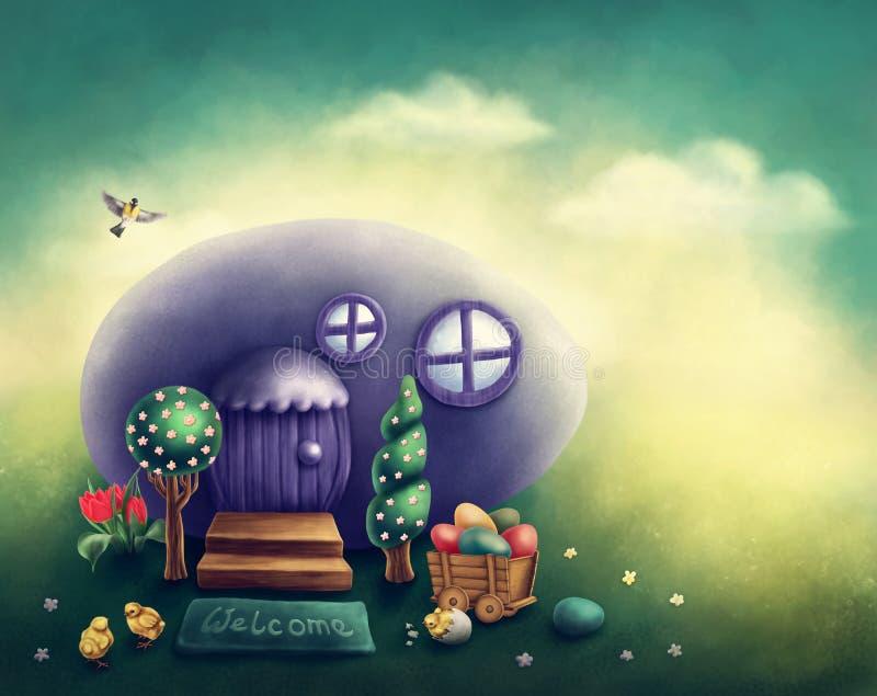 Easter egg house. Illustaration of an easter egg house vector illustration