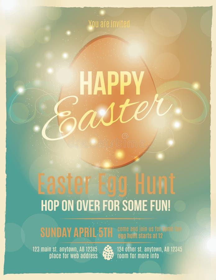 Easter egg hunt invitation. Bright and sparkling Easter egg hunt invitation flyer or poster stock illustration