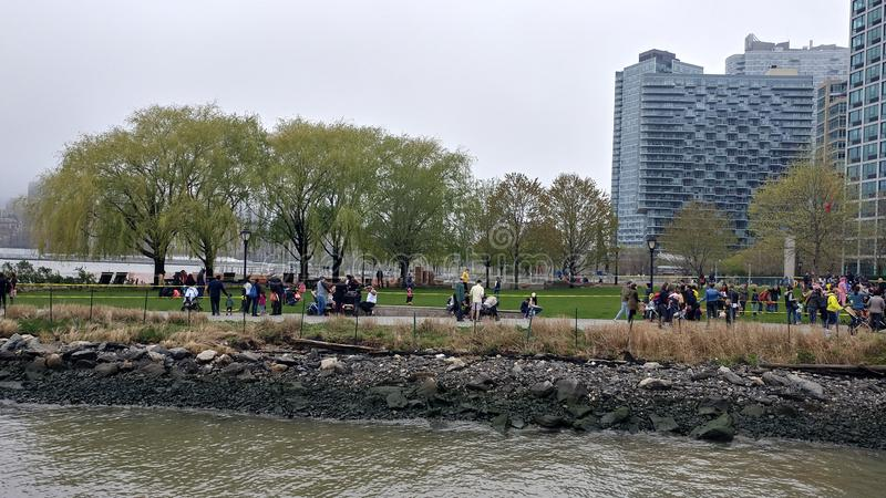 Easter egg hunt in Long Island City park royalty free stock images