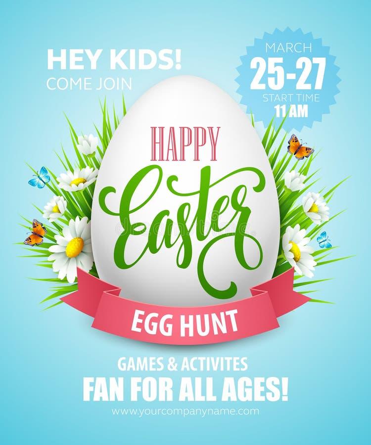 Free Easter Egg Hunt Poster. Vector Illustration Stock Image - 67127241