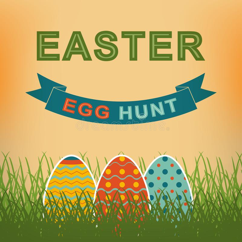 Easter egg hunt vector retro background. Template for your Easter design. vector illustration