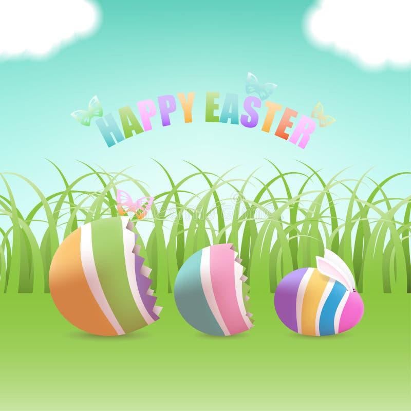 Easter egg inside eggs in grass field royalty free illustration