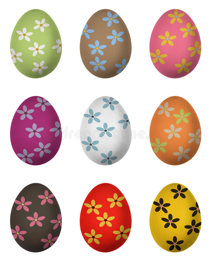 Easter egg paint with flower. Isolated on white background royalty free illustration