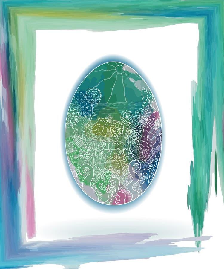 Easter egg sea watercolor green stock illustration
