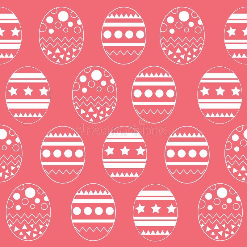 Easter egg pattern line on living coral pink color background seamless stock photos