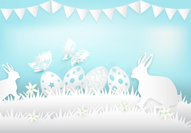 Easter egg and rabbit paper art, paper cut style illustration royalty free illustration
