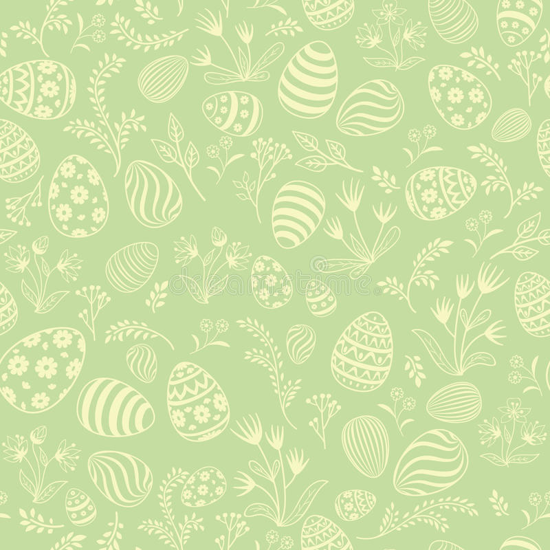 Easter egg seamless pattern. Floral holiday background. vector illustration