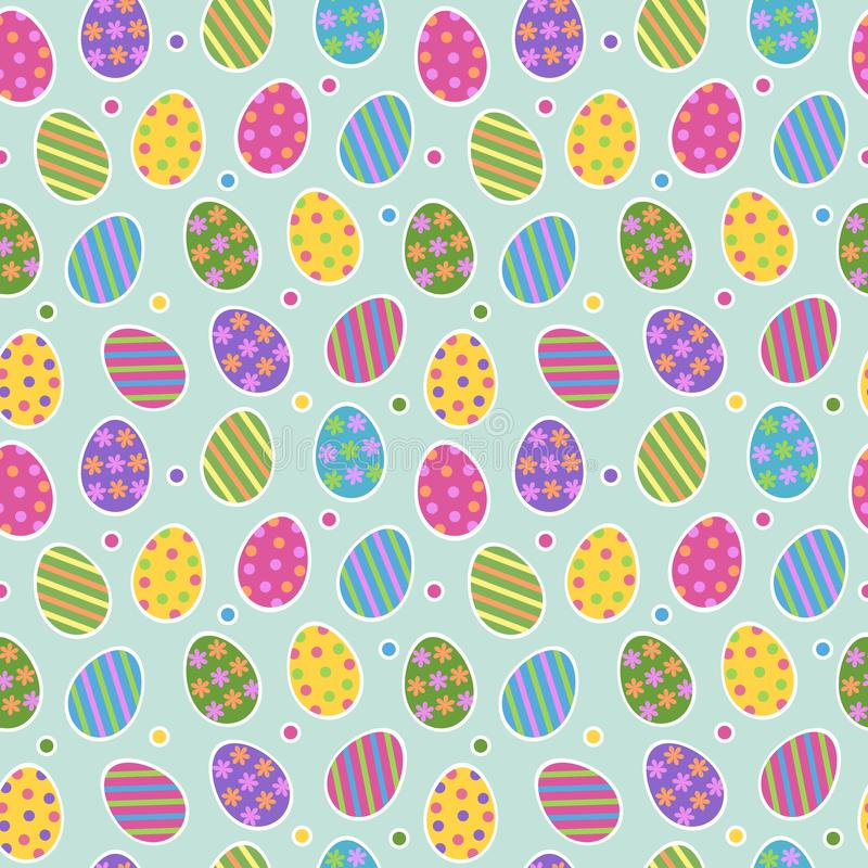 Easter egg seamless pattern vector background with cute colourful painted striped easter eggs stickers with dots on vector illustration