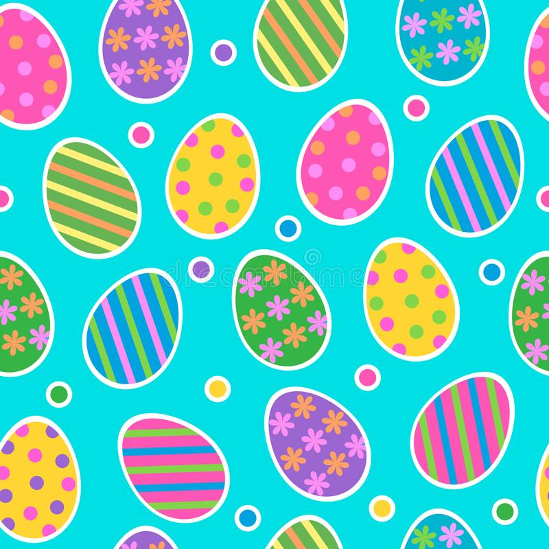 Easter egg seamless pattern vector background with cute colourful painted striped easter eggs stickers with dots on stock illustration
