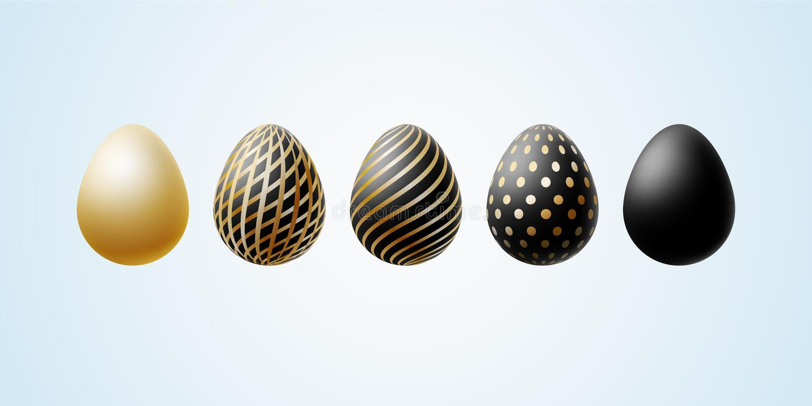 Easter egg Set of elegant modern luxury black gold Easter eggs with a spiral lines pattern specks dots on a light background Egg vector illustration