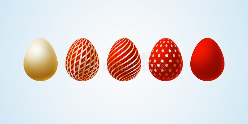 Easter egg Set of elegant modern luxury red gold Easter eggs with a spiral lines pattern specks dots on a light background Egg vector illustration