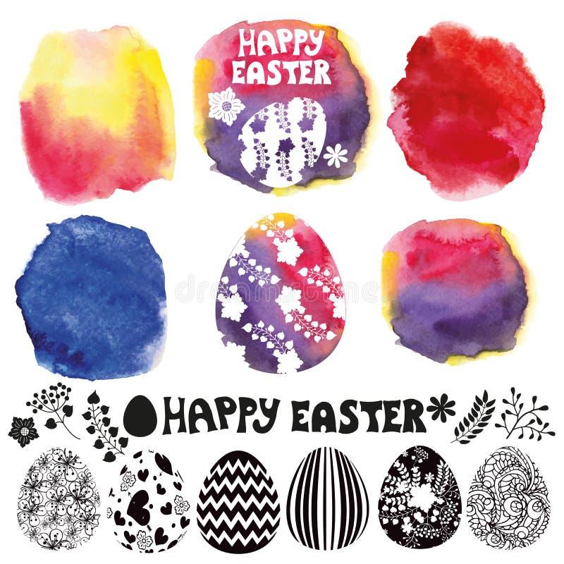 Easter egg set. Watercolor maker royalty free illustration