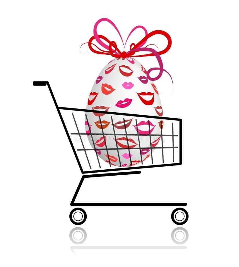 Download Easter Egg  In Shopping Cart For Your Design Stock Vector - Illustration of ecommerce, basket: 24040465