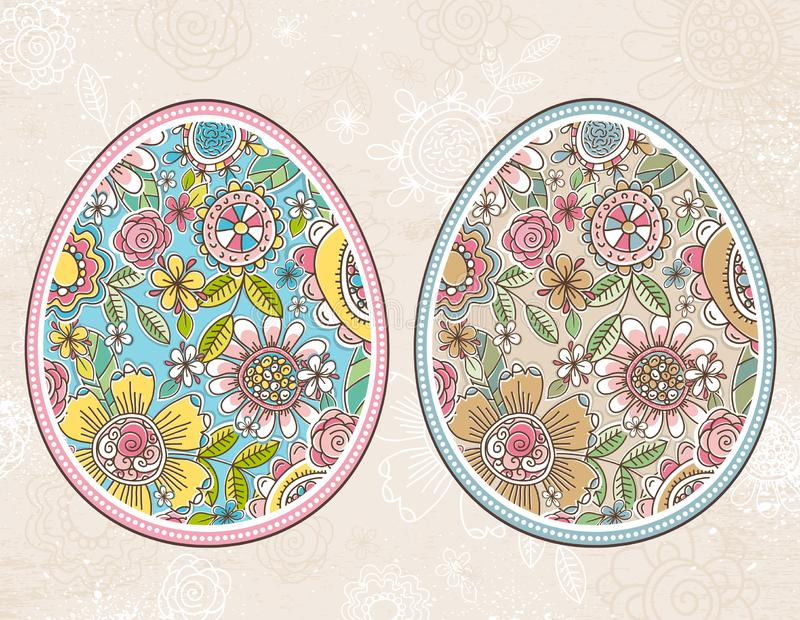 Easter egg with spring flowers and leafs over beige grunge background. Easter holidays design. Two different color. stock illustration