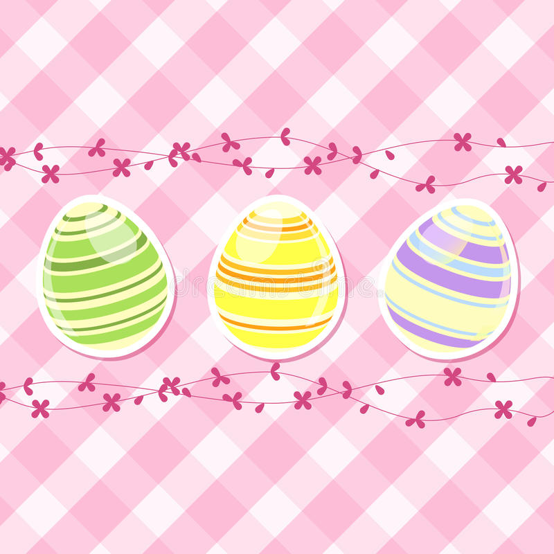 Download Easter Egg And Spring Flowers On Pink Gingham Stock Vector - Image: 23772666