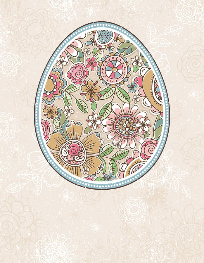 Easter egg with spring flowers, vector