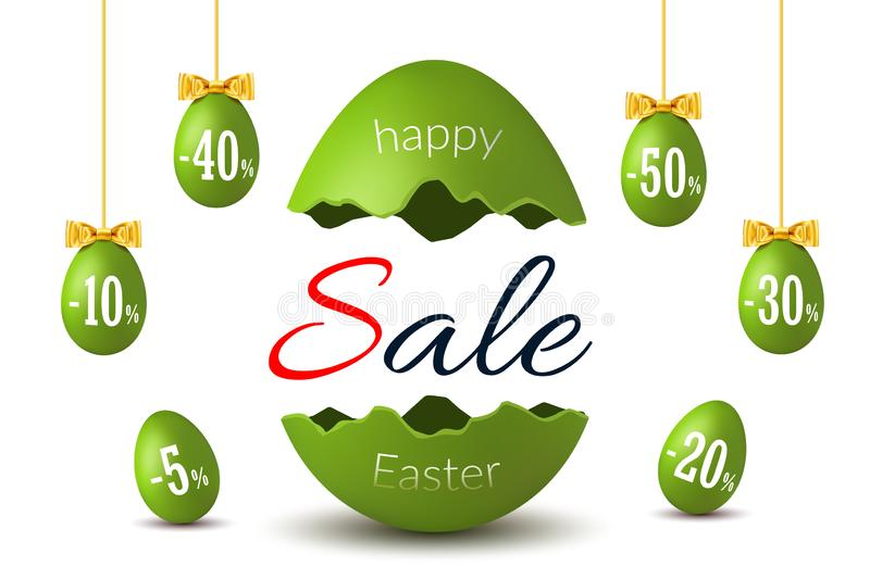 Easter egg text sale. Happy Easter broken egg 3D template isolated white background. Design banner, greeting, promotion. Holiday decoration, special offer vector illustration