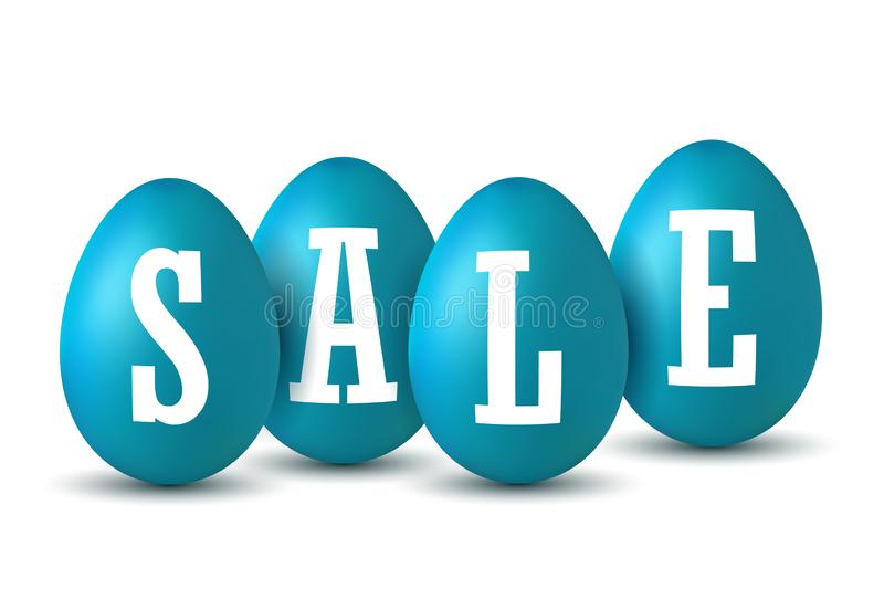 Easter egg text sale. Happy Easter eggs 3D template isolated on white background. Design banner, greeting poster vector illustration