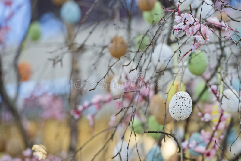 Easter egg tree. Colorful easter egg tree detail stock images