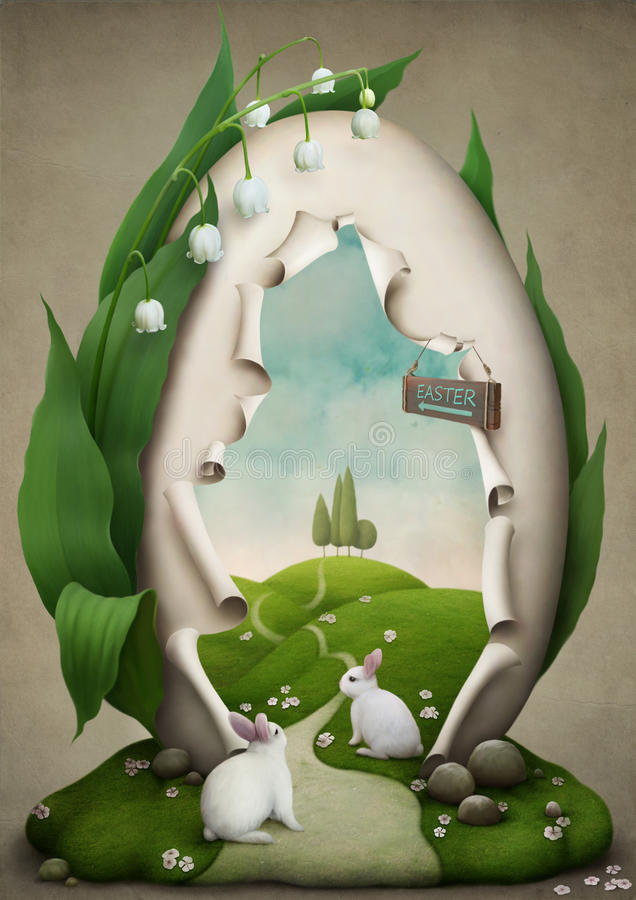 Easter egg the way to a holiday stock illustration