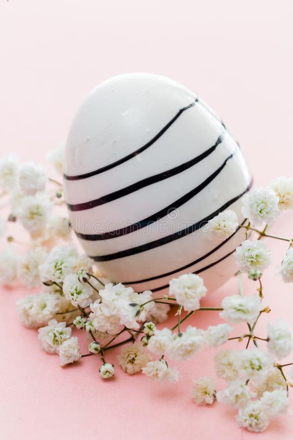 Painted easter egg with black stripes on pink background and with white flowers royalty free stock image