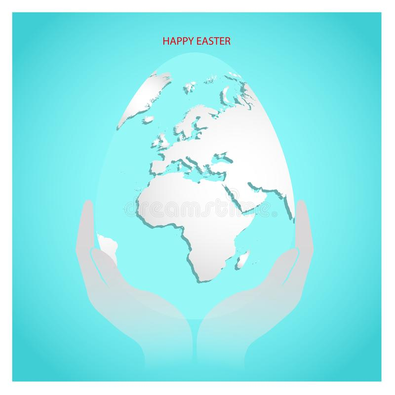 Easter egg with white world map in numan hands. Planet Earth in form of egg on sky blue background with greeting text Happy Easter vector illustration