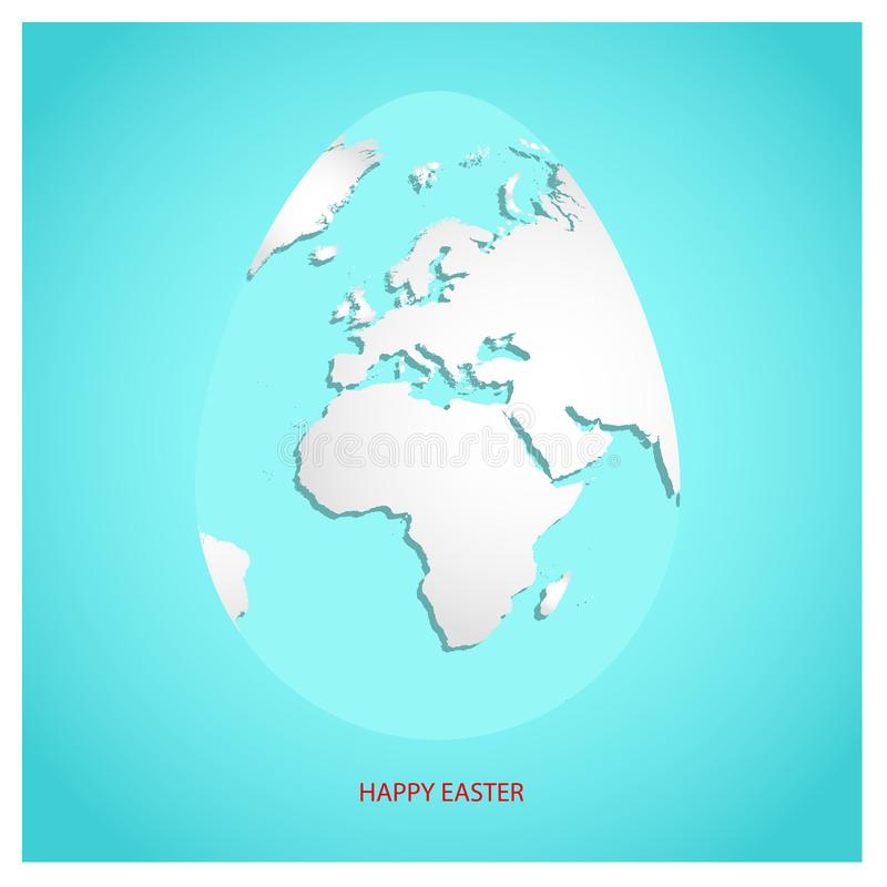 Easter egg with white world map. Planet Earth in form of egg on sky blue background with greeting text Happy Easter in red color. stock illustration