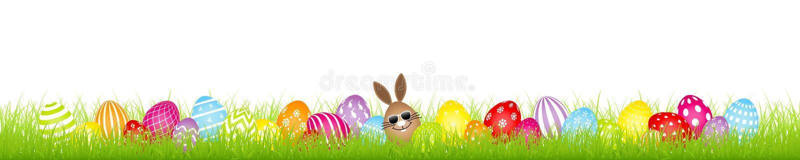 Easter Egg-Wiesen-Fahne Brown-Ei-Bunny Sunglasses And Twenty Eights bunte stock abbildung
