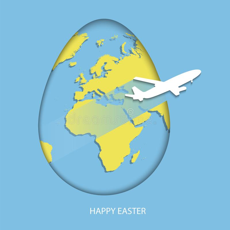 Free Easter Egg With Yellow World Map. Planet Earth In Form Of Egg On Sky Blue Background With Flying White Air Plane And Greeting Text Royalty Free Stock Photo - 113723985
