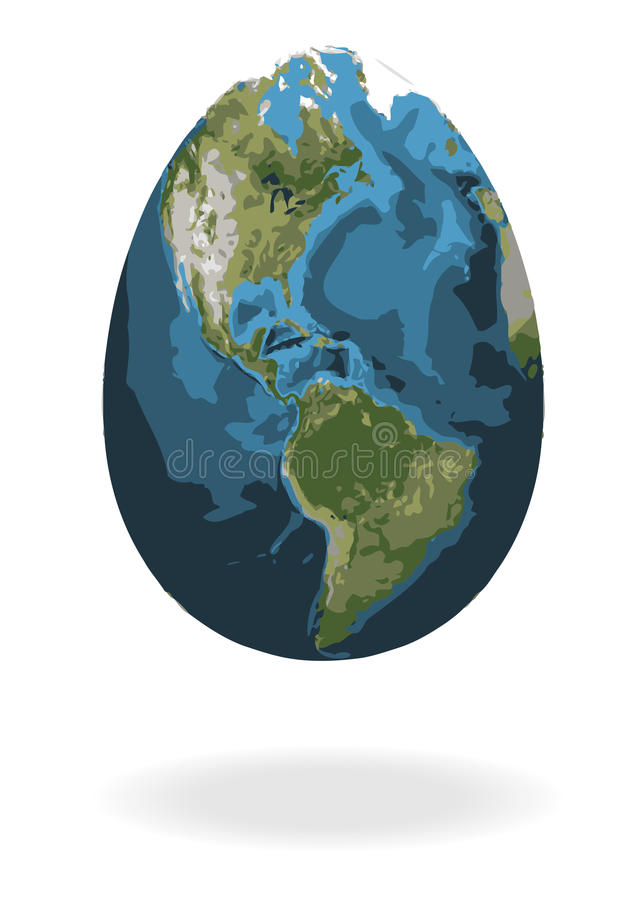 Easter egg with world map vector illustration