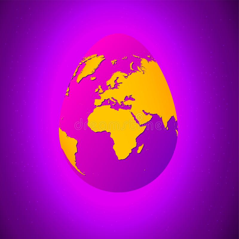 Easter egg with yellow world map. Planet Earth in form of egg on bright purple background with stars stock illustration