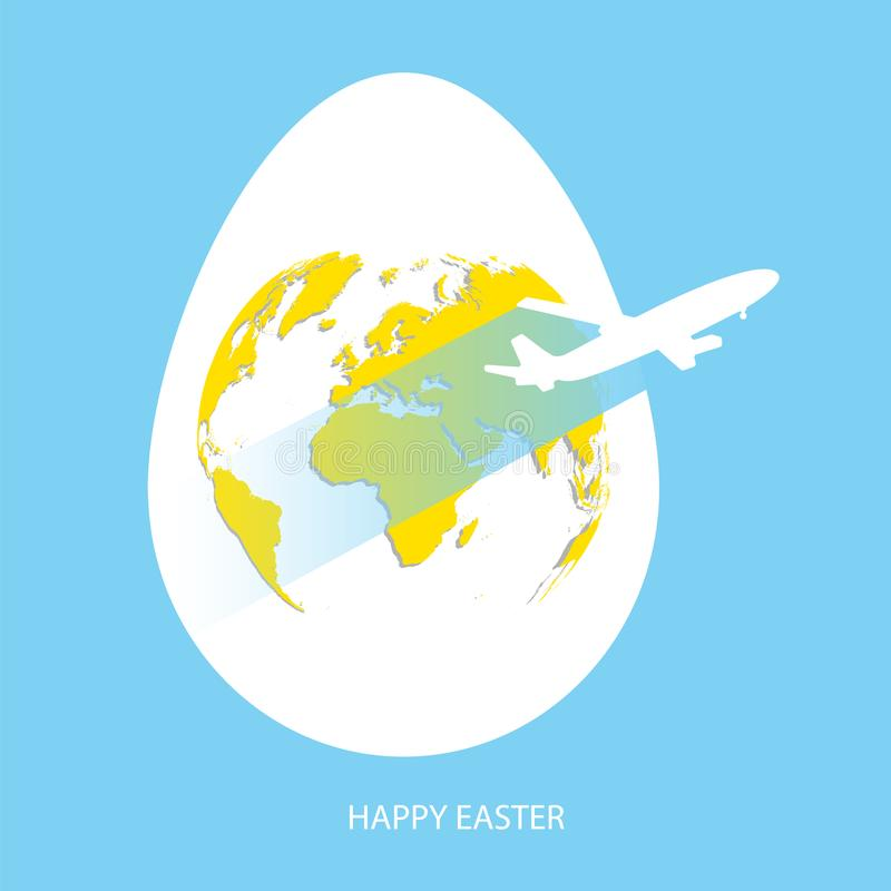 Easter egg yolk with yellow world map. Planet Earth in egg shape on sky blue background with flying white air plane and greeting t vector illustration