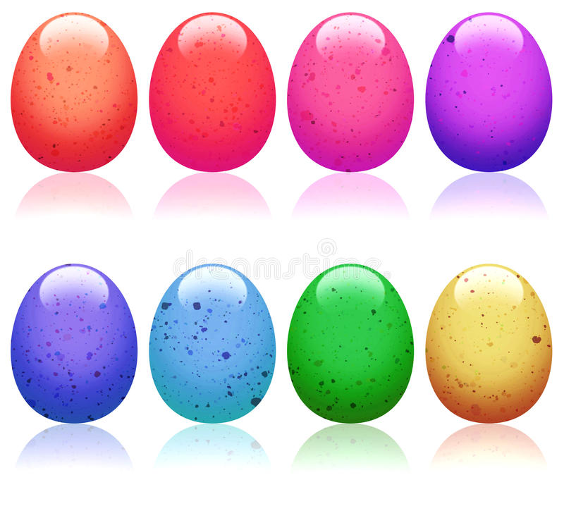 Easter Eggs. A set of eight brightly colored eggs stock illustration